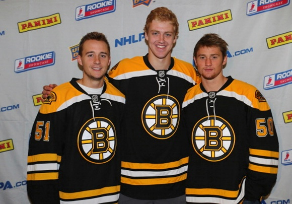 (left to right) Ryan Spooner, Dougie Hamilton, and Jared Knight - Boston Bruins