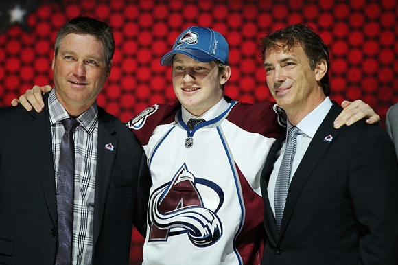 Nathan MacKinnon with Patrick Roy and Joe Sakic - Colorado Avalanche