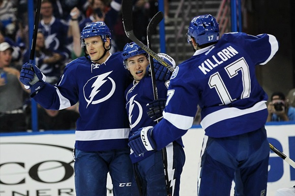 Richard Panik, Tyler Johnson, and Alex Killorn - Tampa Bay Lightning