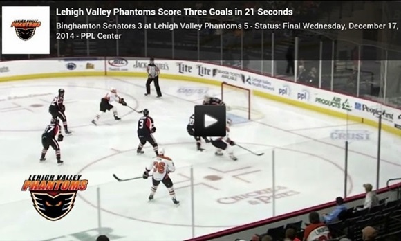 Lehigh Valley Phatoms Score Three Goals in 21 Seconds in AHL Game
