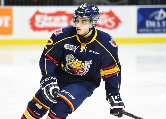 Photo: San Jose Sharks prospect Kevin Labanc has had an impressive second season with the Barrie Colts (courtesy of Aaron Bell/OHL Images)