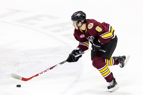 St. Louis Blues prospect Ty Rattie leads the Chicago Wolves in scoring (courtesy of Frank Jansky/Icon Sportswire)