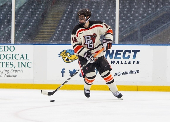 Photo: Mark Friedman is enjoying a standout freshman season on the blueline with Bowling Green State University. (Courtesy of Scott W. Grau/Icon Sportswire)