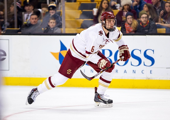 Photo: Steve Santini is has bolstered Boston College's blue line after coming back from a wrist injury during his sophomore year. (Courtesy of Richard T. Gagnon/Getty Images)
