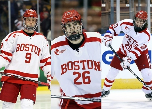Jack Eichel, A.J. Greer, and Brien Diffley - Boston University