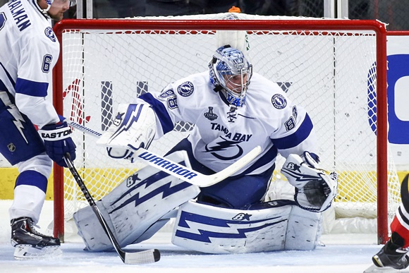 Photo: Although goaltenders face a longer road to the NHL than skaters, Andrei Vasilevskiy has established himself as a solid NHL netminders just three seasons since the Lightning selected him 19th overall in 2012. (Courtesty of Robin Alam/Icon Sportswire)