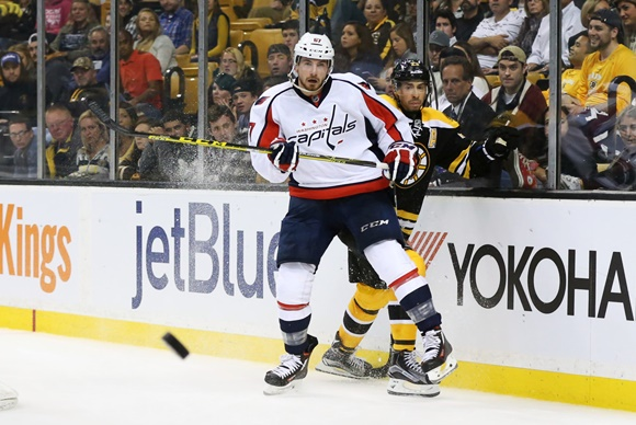Photo: Chris Brown has been called up to the NHL twice since Washington acquired him from Arizona, scoring two goals and an assist in 11 combined games. (Courtesy of Fred Kfoury III/Icon Sportswire)