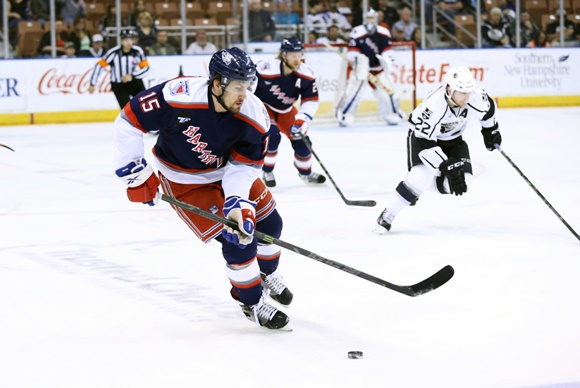 Photo: Marek Hrivik had nine points (three goals, six assists) in 15 games for Hartford in the 2015 AHL Playoffs, a considerable improvement over his regular season production. (Courtesy of Fred Kfoury III/Icon Sportswire)