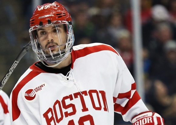Photo: This season, two-way centre Robbie Baillargeon of Boston University will improve on the 16 points (3 goals, 13 assists) he had in a limited offensive role in 2014-15. (Courtesy of Fred Kfoury III/Icon Sportswire)