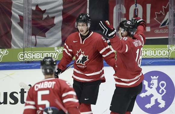 Thomas Chabot, Dylan Strome, and Jake Virtanen - Team Canada - 2016 IIHF World Junior Championship