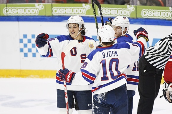 Sonny Milano, Christian Dvorak, and Anders Bjork - Team USA - 2016 IIHF World Junior Championship
