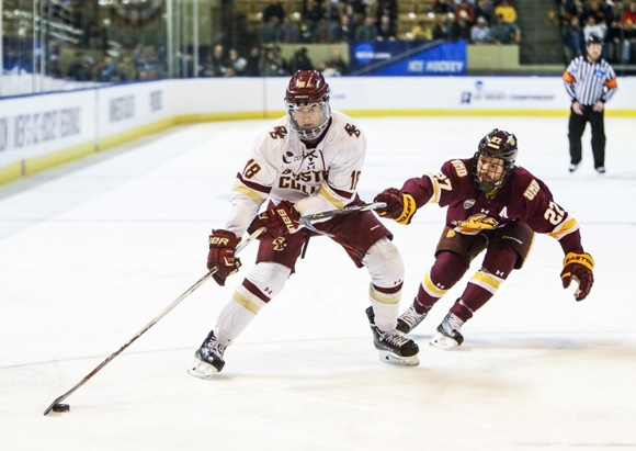 Photo: Colin White had 42 points in 36 games in his freshman season with Boston College in advance of the Frozen Four Tournament. (Courtesy of John Crouch/Icon Sportswire.)