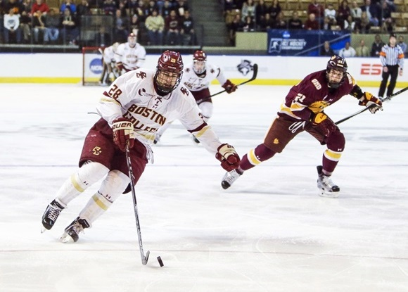 Photo: Miles Wood and Boston College will compete in the Frozen Four on April 7th. (Courtesy of John Crouch/Icon Sportswire.)