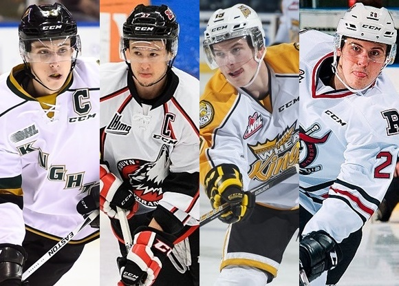 Mitchell Marner - London Knights; Francis Perron - Rouyn-Noranda Huskies; Nolan Patrick - Brandon Wheat Kings; Adam Helewka - Red Deer Rebels - 2016 MasterCard Memorial Cup